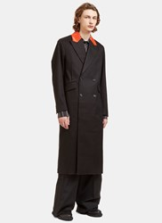 Yang Li Contrast Collared Double Breasted Coat Black