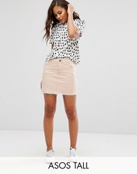 Asos Tall Denim Low Rise Skirt In Washed Pink Pink