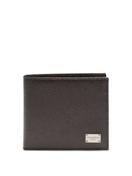 Dolce And Gabbana Bi Fold Grained Leather Wallet Black