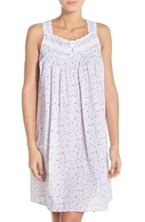 Women's Eileen West Lace Trim Cotton Nightgown White Ground With Multi Ditsy