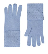 William Sharp Cashmere Embellished Trim Gloves Blue