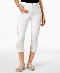 Charter Club Petite Embroidered Capri Jeans Created For Macy's Bright White