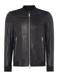 Replay Men's Leather Jacket With Ribbed Collar Black