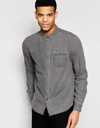 Pull And Bear Pullandbear Denim Shirt In Light Wash Grey Black