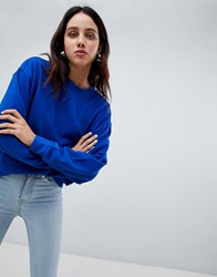Weekday Huge Cropped Sweatshirt Blue Darl