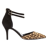 Mint Velvet Dakota Double Strap Stiletto Court Shoes Leopard Black