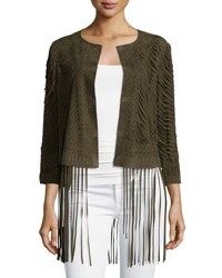Haute Hippie Laser Cut Suede Jacket With Fringe Trim Green