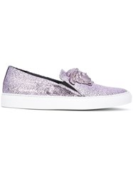 Versace 'Palazzo Medusa' Slip On Sneakers Pink And Purple