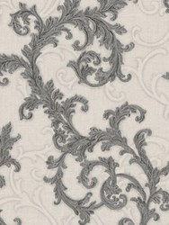 Versace Baroque And Roll Printed Wallpaper Beige Grey