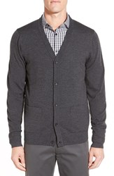John W. Nordstromr Men's Nordstrom 'Basic' Wool Button Cardigan Grey Dark Charcoal Heather