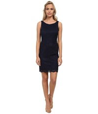 Alejandra Sky Stretch Lace Sleeveless Dress Navy Women's Dress