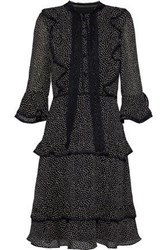 Mikael Aghal Pussy Bow Tiered Polka Dot Georgette Dress Black