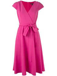 Black Halo Wrap Flared Dress Pink