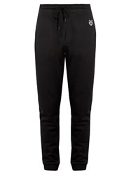 Kenzo Logo Applique Cotton Jersey Sweat Pants Black