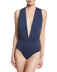 Vix Swimwear Plunge Neck Solid One Piece Swimsuit Indigo Blue