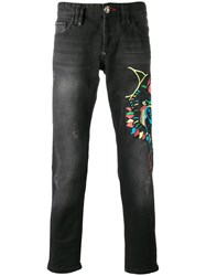 Philipp Plein Embroidered Jeans Black