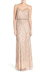 Adrianna Papell Women's Embellished Blouson Gown Taupe Pink
