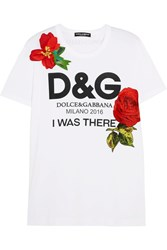 Dolce And Gabbana Appliqued Printed Cotton Jersey T Shirt White