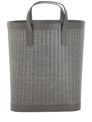 Armani Casa Mistral Large Leather And Raffia Basket Grey