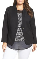Vince Camuto Plus Size Women's One Button Blazer Rich Black