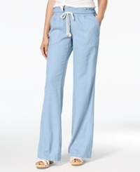 Roxy Juniors' Oceanside Wide Leg Drawstring Pants Morning Sky