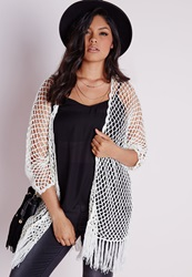 Missguided Plus Size Fishnet Crochet Cardigan White White