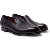 J.M. Weston Tamponato Leather Loafers Navy