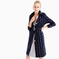 J.Crew Collection Trench Coat In Windowpane