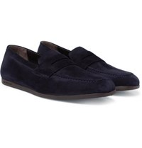 J.M. Weston Suede Penny Loafers Navy