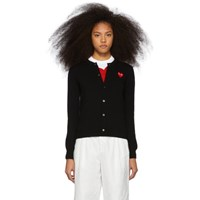 Comme Des Garcons Play Black And Red Heart Cardigan