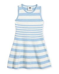Milly Minis Striped Knit Flare Dress Blue White Blue White