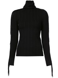 Christian Siriano Fringed Turtle Neck Top Black