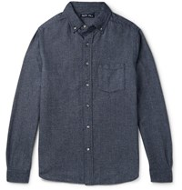 Alex Mill Slim Fit Button Down Brushed Cotton Shirt Navy