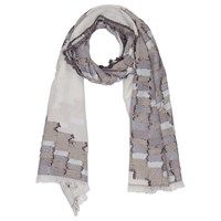 French Connection Dora Checkwave Scarf Monochrome