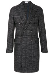 Boglioli Checkered Coat Acrylic Polyamide Polyester Wool Grey