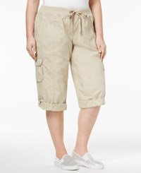 Calvin Klein Performance Plus Size Cotton Cropped Cargo Pants Latte