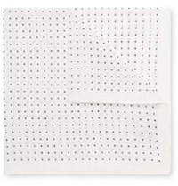 Anderson And Sheppard Polka Dot Cotton Pocket Square White
