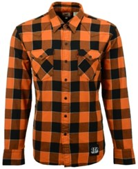 Levi's Men's Cincinnati Bengals Plaid Barstow Western Long Sleeve Shirt Orange