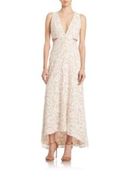 Alice Olivia Suzi Hi Lo Maxi Dress Nude White