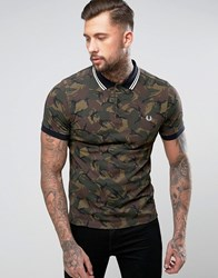 Fred Perry Camo Print Polo Shirt In Green Green