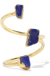 Dara Ettinger Gold Tone Lapis Ring Metallic