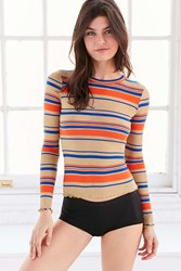 Out From Under Glitter Ribbed Long Sleeve Top Gold