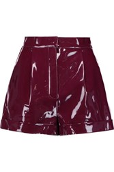 Valentino Pleated Faux Patent Leather Shorts Plum