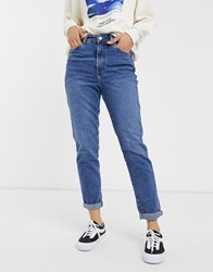 New Look Waist Enhance Mom Jean In Mid Blue Grey