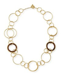 Vendorafa 18K Gold And Wooden Circle Link Necklace With Diamonds 27 L