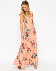 Asos Wedding Maxi Tea Dress With Pleated Skirt In Rose Print