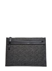 Lanvin Rectangular Woven Zebra Clutch Bag Black