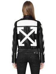Off White Arrow Patch Leather Moto Jacket
