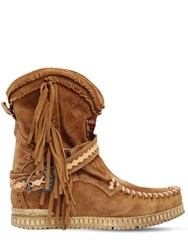 El Vaquero 70Mm Arya Suede Fringed Wedge Boots Sand
