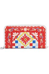 Dolce And Gabbana Printed Textured Leather Continental Wallet One Size